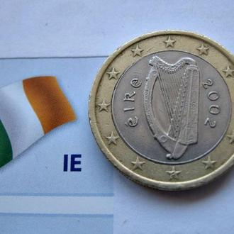 Монета 1 Евро ИРЛАНДИЯ 2002 год