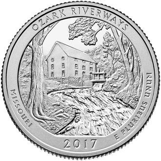 Shantal, США 25 центов 2017, 38 Парк, Национальный парк Озарк Ривервейс, Штат Миссури