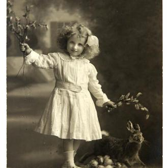 Открытка почтовая карточка С Пасхой! 1911 г. Германия Fv8.5