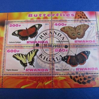 Фауна Метелики Бабочки Мотыльки Руанда 2013 Блок