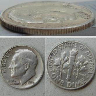 США 1 дайм, 1956г  Silver Roosevelt Dime