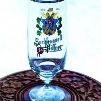 Пивной  бокал - гдр - Sachsenquell - юбилейный -  1977 год - 75 лет пивоварне