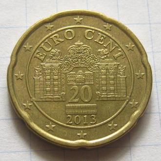 Австрия_ 20 евро центов 2013 года оригинал