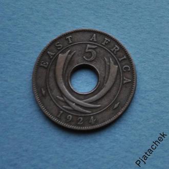 Британская Восточная Африка 5 центов 1924 г.  №1 состояние