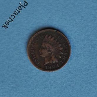 США Америка  1 цент 1904 №1