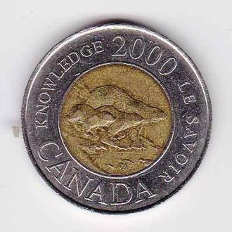 Канада 2000  г - 2 доллара - 2а скана