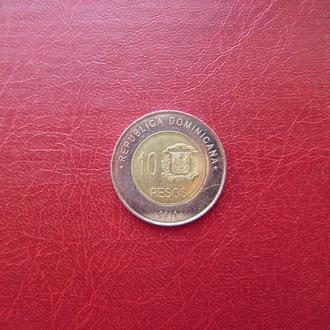 Доминиканская 10 песо 2010