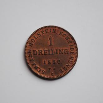 Шлезвиг-Гольштейн 1 дрелинг 1850 г., UNC, 'Временное Государство (1848-1851)', ОЧЕНЬ РЕДКАЯ