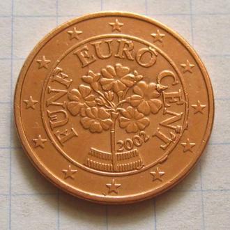 Австрия_ 5 евро центов 2002 оригинал