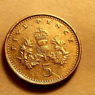 5 пенсов 1996 года Великобритания - а