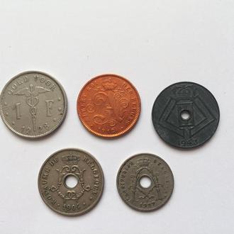Подборка Бельгия. 5 шт. 2 сантима 1912 г. и другие.