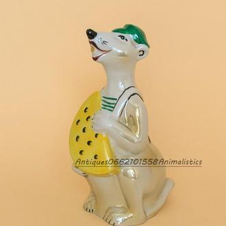 Фарфоровая статуэтка фарфор Мышь с сыром Городница