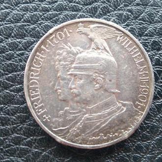 Две Марки Германия Пруссия Юбилей  Серебро-1901 год.