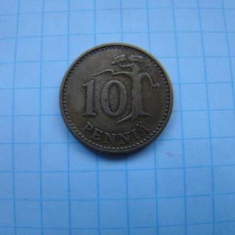10 пенни 1963 г., Финляндия.