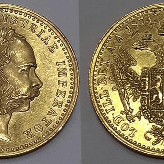 Золотая монета 1 дукат 1874 года. Австро-Венгрия. Король Франц Иосиф I