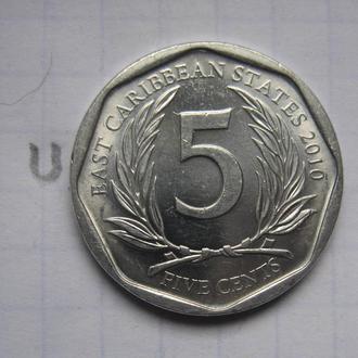 ВОСТОЧНО-КАРИБСКИЕ ГОСУДАРСТВА, 5 центов 2010 года (состояние).