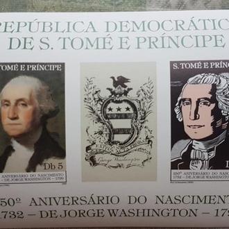 Сан Томе и Принсипи 1982  живопись портреты Дж. Вашингтона Б/Зуб. блок Михель = 15 евро**