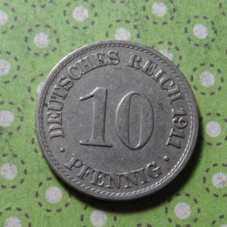 Германия 1911 год монета 10 пфеннигов A