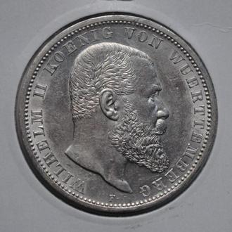 Вюртемберг 5 марок 1913 г., UNC, 'Король Вильгельм ІІ (1891-1918)'