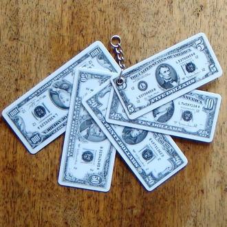 Брелок   Доллары  пластик