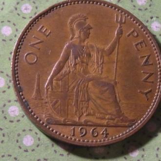 Великобритания 1964 год монета 1 пенни Англия  !