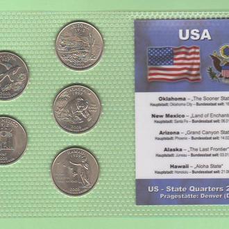 Набор квотер ов США 2008 год - D - пластик блистер запайка