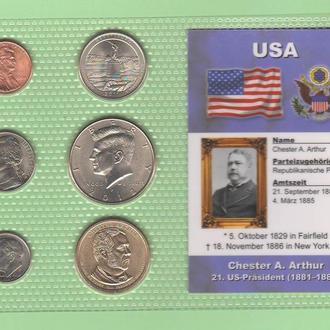 Набор монет США: 21 -й Президент США - Честер А. Артур - Chester A. Arthur - пластик блистер запайка