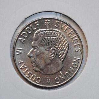 Швеция 1 крона 1966 г., UNC, 'Король Густав VI Адольф (1950-1973)'