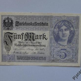 Германия 5 марок 1917 г XF N988
