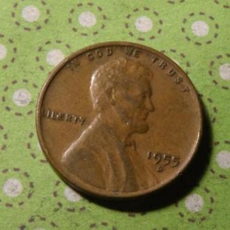 США 1955 год монета 1 цент Америка D !