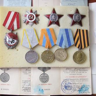 Орден  Боевого Красного Знамени, Красная Звезда (2шт), ОВ-2 ст, За Боевые Заслуги, Вена, Будапешт