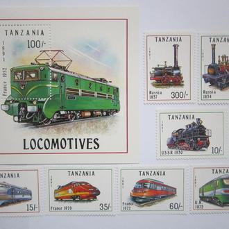 Танзания 1991г.** жд транспорт паровозы поезда