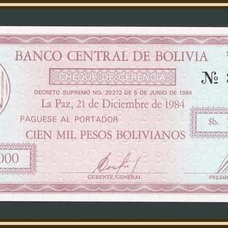 Боливия 100000 песо 1984 P-188 UNC