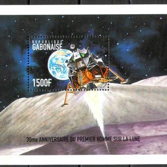 Габон 1999 ** Космос Луна Аполлон Планеты Спутники БЛ MNH