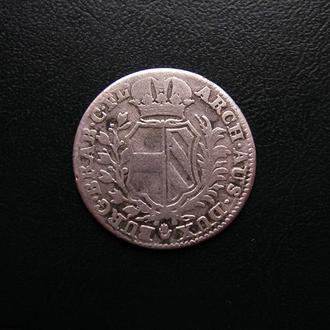 Австрийские Нидерланды, Мария Терезия, 20 лиардов 1751 г. (знак - рука) Серебро! Редкая монета!!!