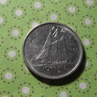 Канада 1987 год монета 10 центов парусник !