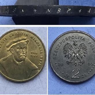 Польша 2 злотых, 2005г.  500 лет со дня рождения Николая Рея  / Юбилейная монета