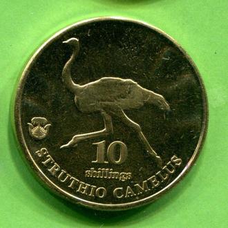 Биафра 10 шиллингов 2020  страус фауна