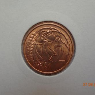 """Новая Зеландия 2 цента 1967 Elizabeth II """"Kowhai leaves"""" состояние UNC (из банковского набора)"""