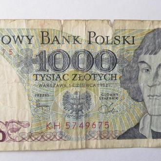 1000 злотых Польша 1982 год