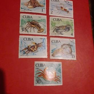 Марка Куба крабы раки моллюски