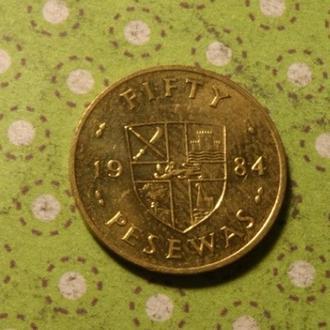 Гана монета 5 песев 1984 год !