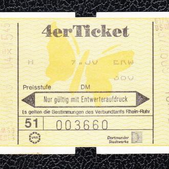 Германия. Проездной билет на 4 поездки.