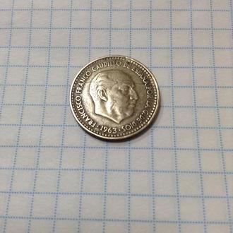 ИСПАНИЯ, 1 песета 1963