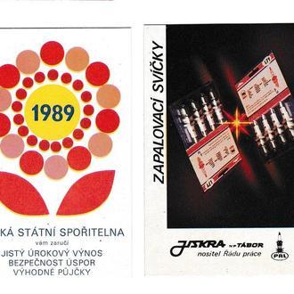 Календарики 1989 Чехословакия, Чешский Государственный Банк, свечи зажигания