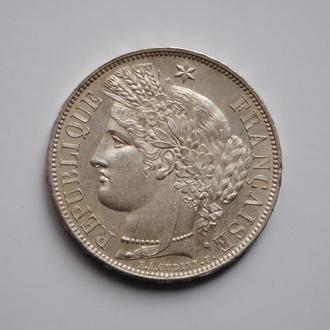 Франция 5 франков 1850 г., UNC, 'Вторая Республика (1848-1851)', ОЧЕНЬ РЕДКОЕ СОСТОЯНИЕ
