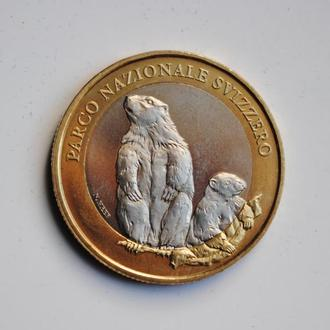 Швейцария 10 франков 2010 г., UNC, 'Швейцарский национальный парк - альпийский сурок'