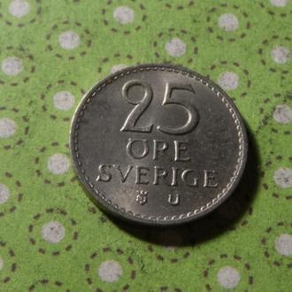 Швеция 1970 год монета 25 эре !