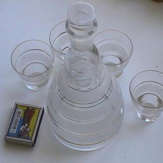 Графін з 4 стаканчиками СРСР Графин с 4 стаканчиками СССР