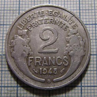 Франция, 2 франка 1948 г. Буква «B» под годом.